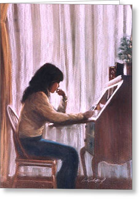 Pondering Pastels Greeting Cards - Thinking Greeting Card by Linda Crockett