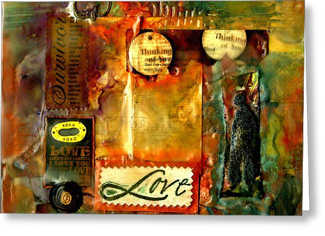 Survivor Art Greeting Cards - Thinking of You with Love Greeting Card by Angela L Walker