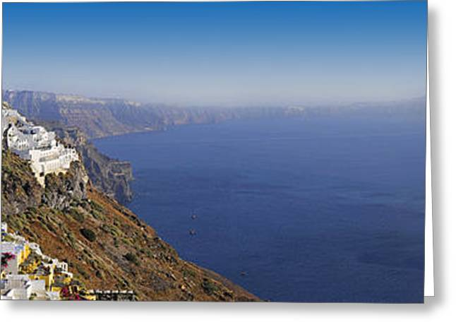 Thirasia Greeting Cards - Thira Santorini panorama Greeting Card by Evgeny Ivanov