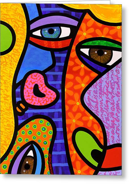 Abstract Faces Greeting Cards - Third Eye Rising Greeting Card by Steven Scott