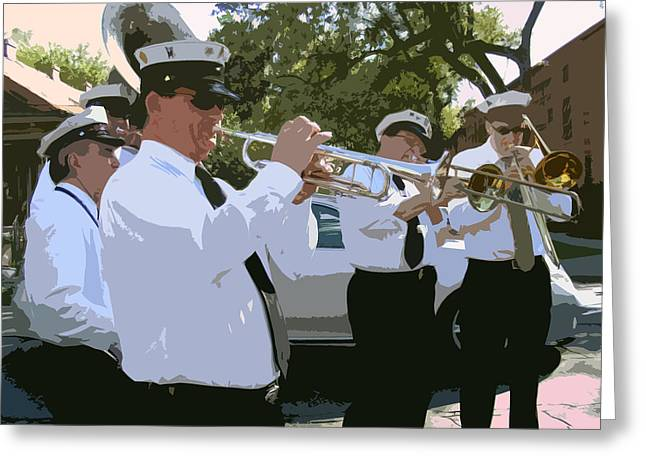 Barrel Roll Greeting Cards - Third Line Brass Band Greeting Card by Renee Barnes