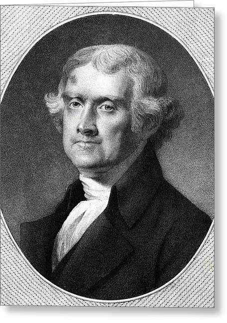 Third-oldest Greeting Cards - Third President of the USA - Thomas Jefferson Greeting Card by International  Images