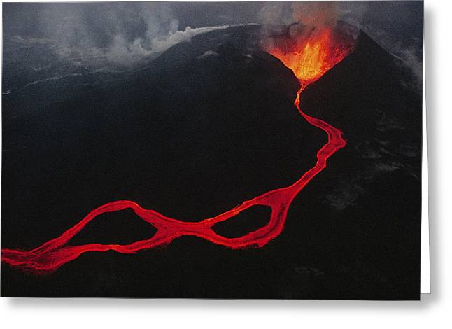Unknown Greeting Cards - This Active Fissure Spewed Lava Greeting Card by Chris Johns