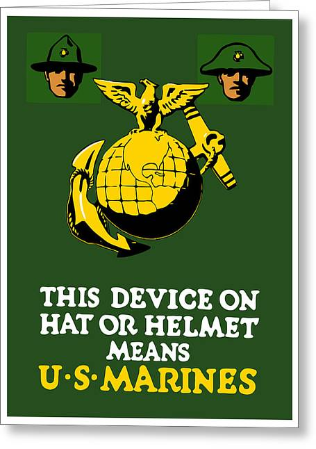 Vets Greeting Cards - This Device Means US Marines  Greeting Card by War Is Hell Store
