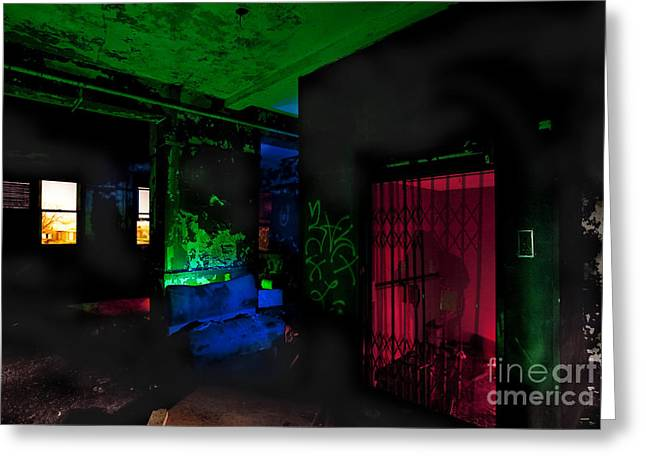 Ghostly Greeting Cards - This Elevator Only Goes Down Greeting Card by Keith Kapple