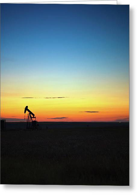 Alberta Prairie Landscape Greeting Cards - This is Alberta No.14A - Prairie Oil Sunset Greeting Card by Paul W Sharpe Aka Wizard of Wonders