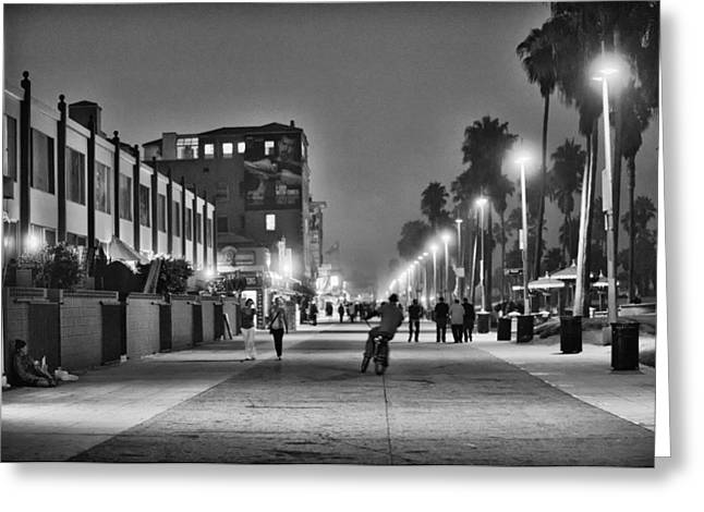 Venice Beach Palms Greeting Cards - This is California No. 11 - Venice Beach Biker Greeting Card by Paul W Sharpe Aka Wizard of Wonders