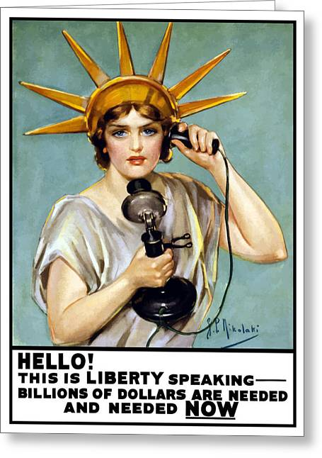 Statue Of Liberty Greeting Cards - This Is Liberty Speaking Greeting Card by War Is Hell Store