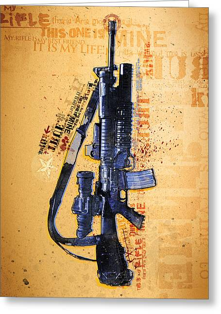 National Anthem Greeting Cards - This is My Rifle Riflemans Creed Greeting Card by Jeff Steed
