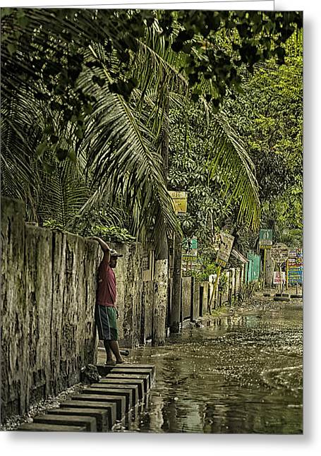 Stepping Stones Greeting Cards - This is the Philippines No.57 - Guess Im Gonna Get Wet Feet Greeting Card by Paul W Sharpe Aka Wizard of Wonders