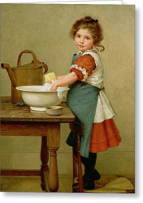 Domestic Bathroom Greeting Cards - This Is the Way We Wash Our Clothes  Greeting Card by George Dunlop Leslie
