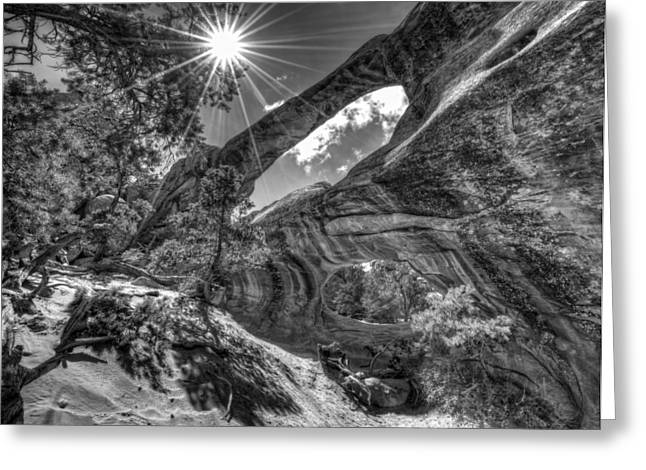 Double O Arch Greeting Cards - This is Utah No. 17 - Double O Arch Sunburst Greeting Card by Paul W Sharpe Aka Wizard of Wonders