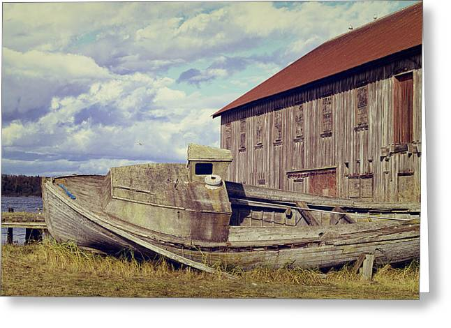 Red Roofed Barn Greeting Cards - This is Washington State No. 14 - By The Old Dock Greeting Card by Paul W Sharpe Aka Wizard of Wonders