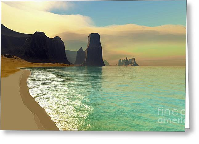 Creativity Desert Greeting Cards - This Ocean Beach Is Colored Greeting Card by Corey Ford