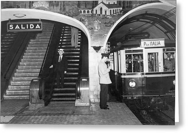 Period Photography Greeting Cards - This Subway Train Is Headed Greeting Card by Luis Marden