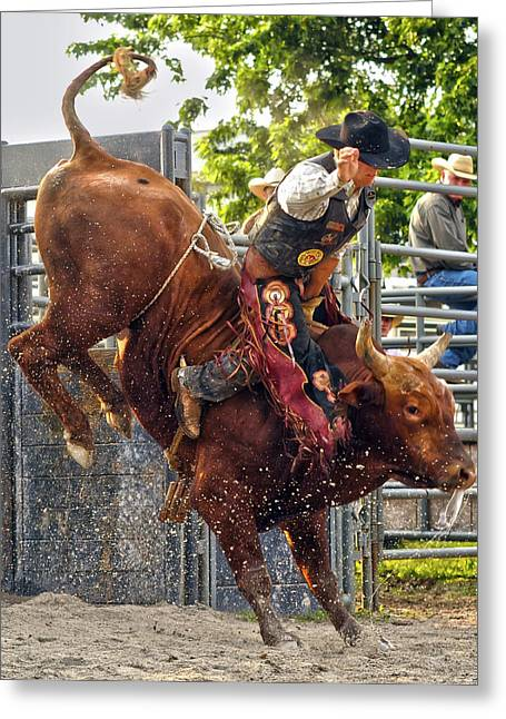 Bull Riders Greeting Cards - This Thing They Call Rodeo Greeting Card by Ron  McGinnis