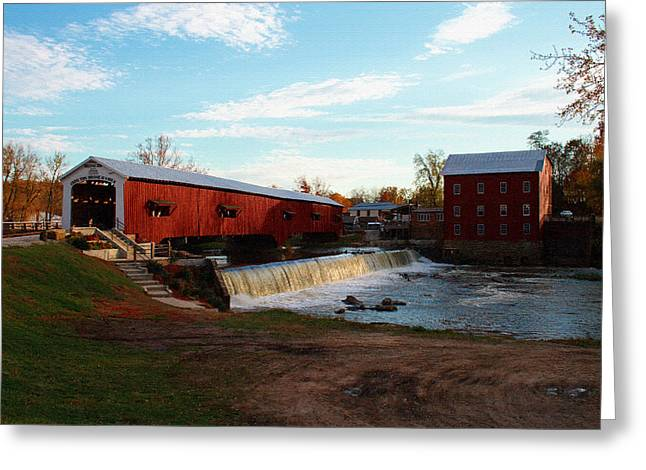 Bridgeton Mill Greeting Cards - Tho Old Mill Bridge Greeting Card by Mike Flake