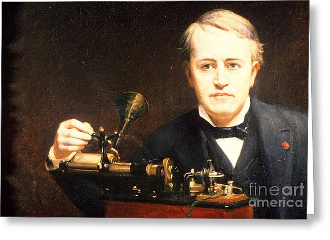 Pioneer Illustration Greeting Cards - Thomas Edison, American Inventor Greeting Card by Photo Researchers