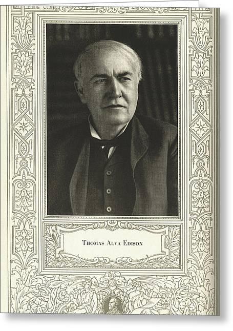 Edison Greeting Cards - Thomas Edison, American Inventor Greeting Card by Science, Industry & Business Librarynew York Public Library