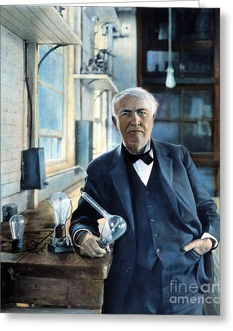 Carbon Filament Greeting Cards - Thomas Edison Greeting Card by Granger