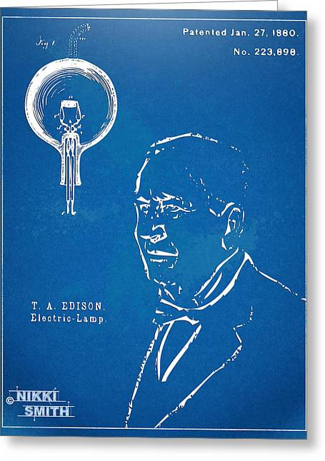 Edison Greeting Cards - Thomas Edison Lightbulb Patent Artwork Greeting Card by Nikki Marie Smith