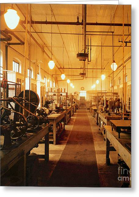 Electric Current Greeting Cards - Thomas Edisons Laboratory Greeting Card by Science Source