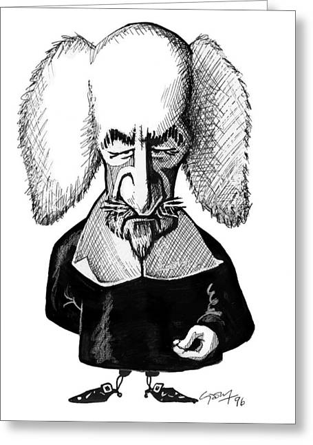 Sociology Greeting Cards - Thomas Hobbes, Caricature Greeting Card by Gary Brown