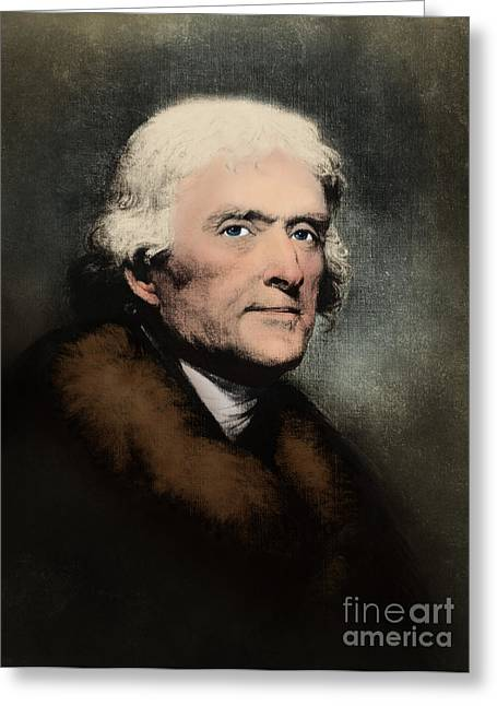 Louisiana Purchase Greeting Cards - Thomas Jefferson, 3rd American President Greeting Card by Omikron