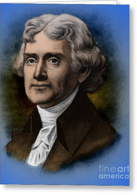 Louisiana Purchase Greeting Cards - Thomas Jefferson, 3rd American President Greeting Card by Photo Researchers