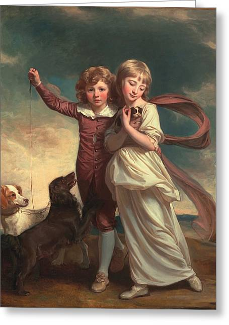 Billowing Greeting Cards - Thomas John Clavering and Catherine Mary Clavering Greeting Card by George Romney