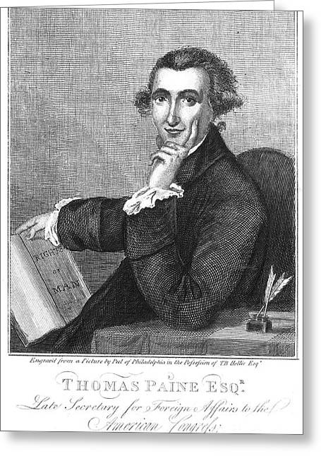 Statesman Greeting Cards - Thomas Paine (1737-1809) Greeting Card by Granger