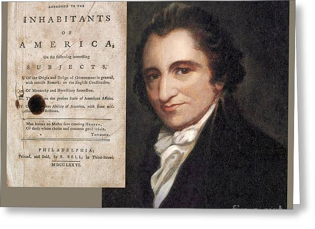 Common Sense Greeting Cards - Thomas Paine And Common Sense Greeting Card by Photo Researchers