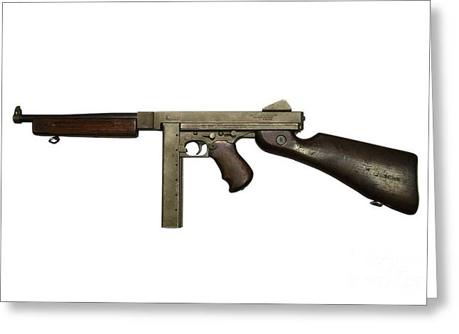 Copy Machine Greeting Cards - Thompson Model M1a1 Submachine Gun Greeting Card by Andrew Chittock