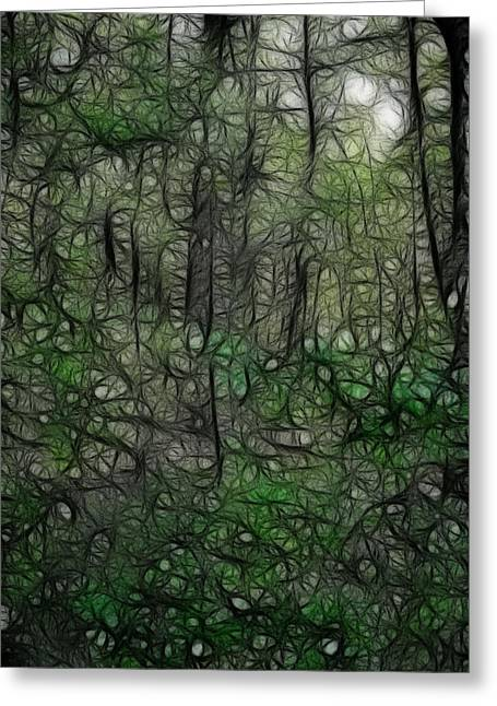 Recently Sold -  - Walden Pond Greeting Cards - Thoreau Woods Fractal Greeting Card by Lawrence Christopher