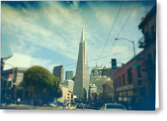 San Francisco Ca Greeting Cards - Those Sunny Downtown Days Greeting Card by Laurie Search