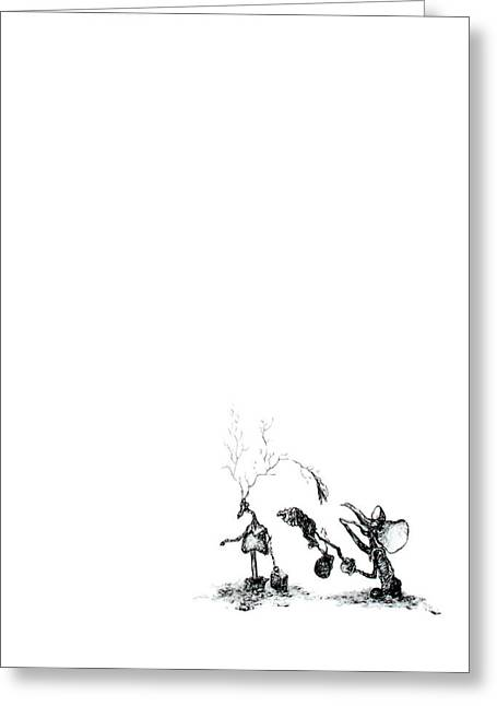 Surreal Landscape Drawings Greeting Cards - Though The Glove Was Clearly Useless The Fanaticism Of Mickeys Persuit Was Deeply Frightening Greeting Card by William Rosshirt