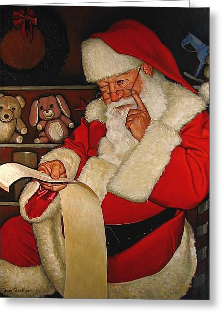 Stuffed Toy Greeting Cards - Thoughtful Santa Greeting Card by Doug Strickland