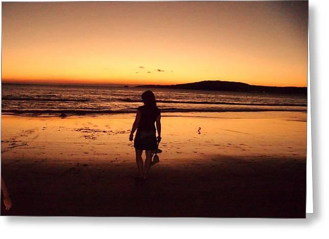 Jenny Senra Pampin Greeting Cards - Thoughtful Woman In The Beach Greeting Card by Jenny Senra Pampin