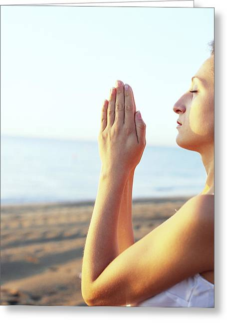 Thoughtful Woman Meditating Greeting Card by Cristina Pedrazzini