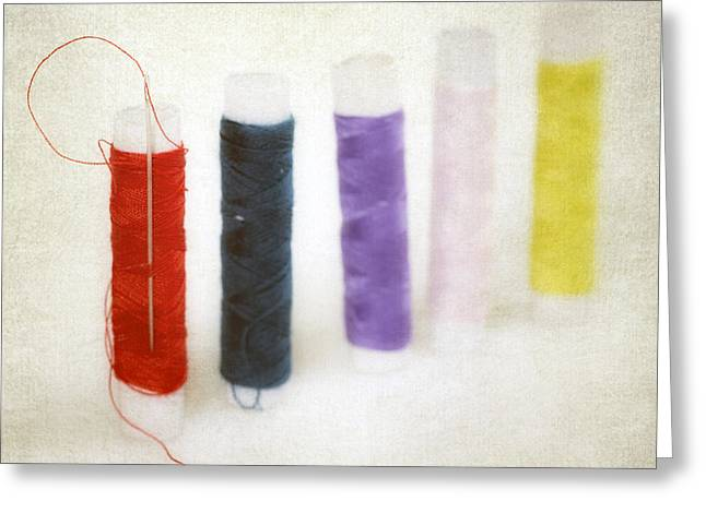 Needles Greeting Cards - Thread Reels Greeting Card by Joana Kruse