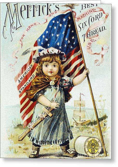 1880s Greeting Cards - THREAD TRADE CARD, c1880 Greeting Card by Granger