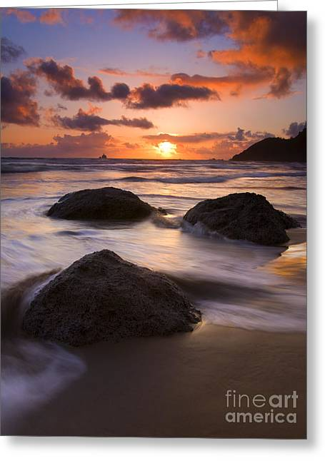 Tillamook Lighthouse Greeting Cards - Three Against the Tide Greeting Card by Mike  Dawson