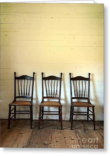 Interior Still Life Photographs Greeting Cards - Three Antique Chairs Greeting Card by Jill Battaglia