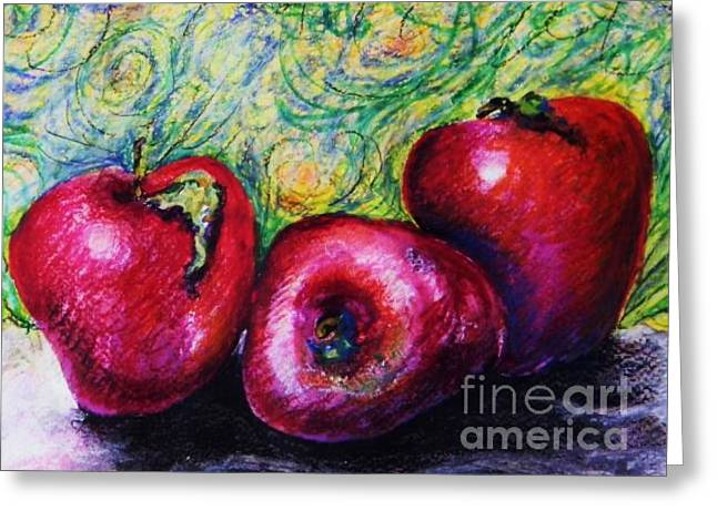 Healthy Pastels Greeting Cards - Three Apples Greeting Card by Emily Michaud