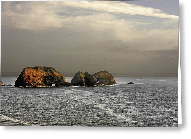 Wildlife Refuge. Greeting Cards - Three Arch Rocks - Oceanside near Cape Meares - Oregon Greeting Card by Christine Till