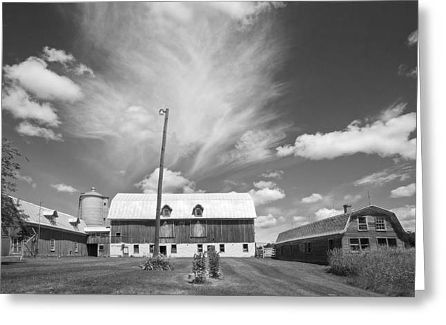 Stephen Mack Greeting Cards - Three Barns with Clouds on Clark Lakes Road Greeting Card by Stephen Mack