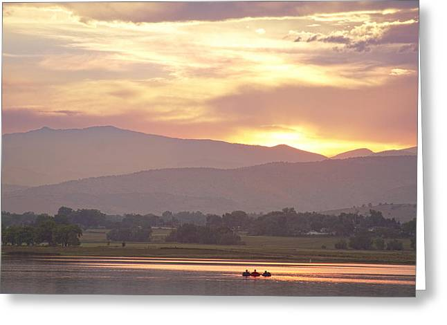 Three Belly Boats Golden Scenic View Greeting Card by James BO  Insogna