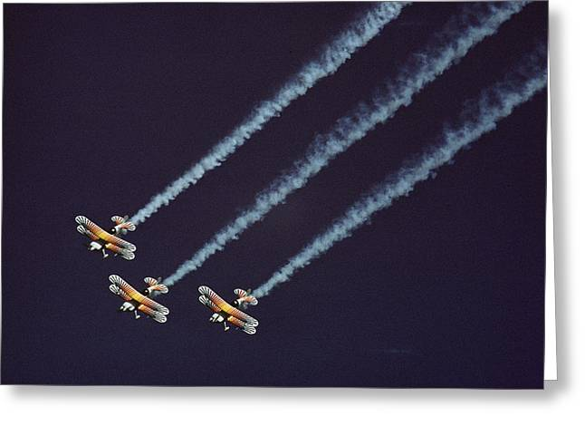 Convention Greeting Cards - Three Bi-planes Of The Christian Eagle Greeting Card by Kenneth Garrett