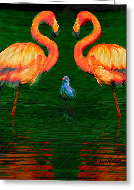 Ocean Shore Digital Greeting Cards - Three Birds Greeting Card by Anthony Caruso