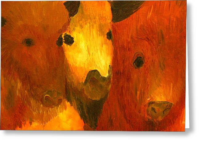 Sweat Paintings Greeting Cards - Three Bison Greeting Card by Austen Brauker